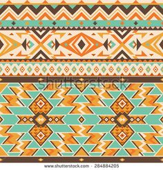 Vector Seamless Tribal Pattern. Ethnic Ornament with Triangles, Rhombus and Stripes. Stylish Background for Textile Design