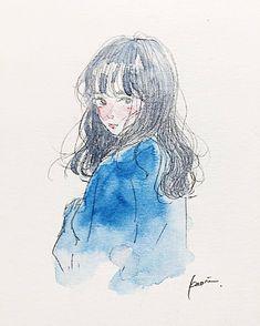 Hair Art Illustration Drawings Ideas For 2019 Art Anime, Anime Kunst, Manga Art, Blue Drawings, Colorful Drawings, Art Drawings, Art And Illustration, Watercolor Illustration, Kunst Inspo