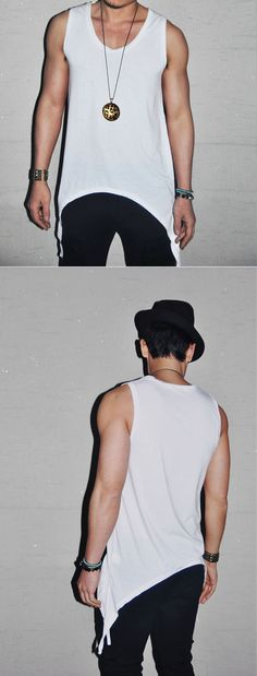 Tops :: Tanks :: Avant-garde Long U-neck Silket -Tank 07 - Mens Fashion Clothing For An Attractive Guy Look