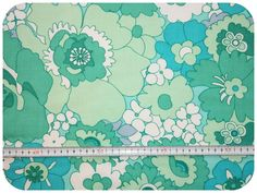 Floral retro vintage fabric - turquoise and mint green by MirjamTheresa on Etsy