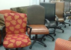 Greetings, my friends. We have a sale on desk chairs. All of these chairs are from three Denver hotels and are in amazing condition for only $25.00.