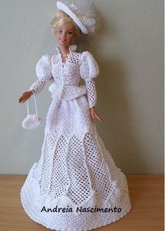 Crochet Dolls Design Crochet Barbie dress by Annie's Granny Design, design by Sandra Peach Barbie Crochet Gown, Barbie Gowns, Crochet Barbie Clothes, Barbie Dress, Barbie Doll, Doll Dresses, Crochet Dresses, Ag Dolls, Girl Dolls