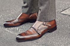 Mens Fashion - Brown double monk brogues