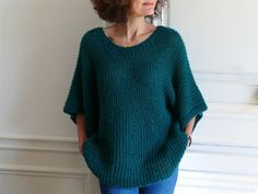 Pull Lou Bee made en Brushed Alpaca silk de Drops tuto Crochet Woman, Diy Crochet, Crochet Pattern, Crochet Clothes, Pullover, Knitwear, Knitting Patterns, Bee, Point Mousse