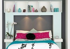 Furniture, Storage Headboards With Lights: Simple Beds Headboard with The Clean Look