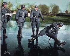German troops accidentally invent breakdancing trying to cross ice. Ww2 Pictures, Military Pictures, German Soldiers Ww2, German Army, Luftwaffe, Berlin Olympics, Germany Ww2, Us Politics, Armored Vehicles