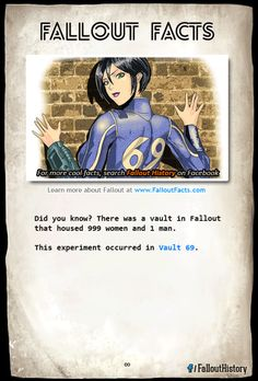 Íher: was a vault in Fallout that housed 595 women and 1 nun. Fallout 4 Funny, Fallout Facts, Fallout New Vegas, Fallout 4 Piper, Fallout Lore, Fallout Vault, Dibujos Pin Up, Video Game Logic, Pokemon
