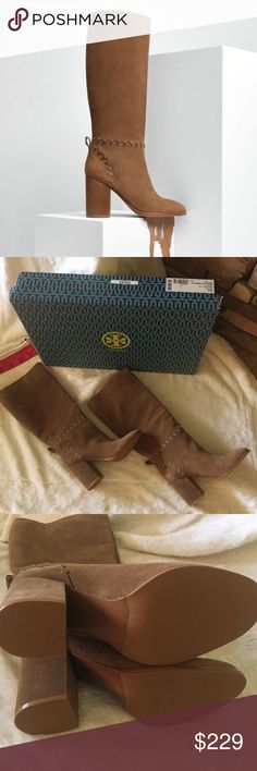 "New in box Tory burch Contraire 90mm boots river Tory Burch suede knee boot with whipstitch trim. 3.5"" covered block heel. Round toe. Pull-on style. Leather lining. Leather and rubber outsole. ""Contraire"" is made in Brazil.  About Tory Burch: Tory Burch is a luxury lifestyle brand defined by classic American sportswear with an eclectic sensibility. It embodies the personal style and spirit of its CEO and designer, Tory Burch, who creates stylish and wearable clothing and accessories for all…"