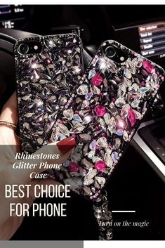 Rhinestones Glitter Phone Case - Each mobile cover is designed to protect your smartphone while allowing access to all its inputs and outputs. Glitter Phone Cases, Cute Phone Cases, Mobile Covers, Galaxy Note 9, Memorable Gifts, Phone Accessories, Rhinestones, How To Memorize Things, Smartphone