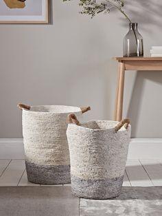 Two Tall Grey  Natural Baskets