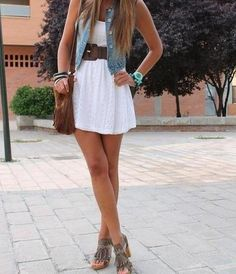 Denim vest, white dress with brown belt & bag, nice outfit for summer. Only with boots instead