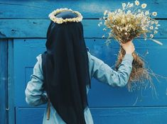 รูปภาพ blue, hijab, and daisy