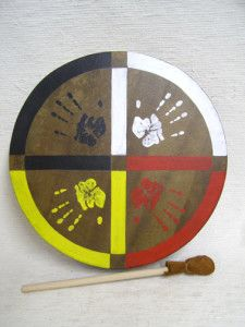 Cherokee Made Painted Buffalo Drum (Wooden dowel used for beater. Prefer a nice Maple stick with a wrapped handle. I make my own drum beaters. JLynne)