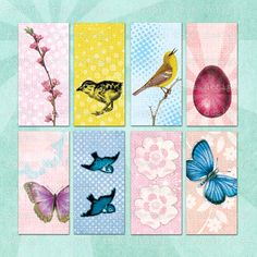 ALL THINGS SPRING Printable Collage Sheet - no. 0050, $3.99 :: Pretty pastel images of butterflies, birds, blossoms and all things spring. 1x2in, great for domino tile pendants. From Rowan Tree Design on Etsy.