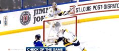 Oh my god Rinne! Pekka got taken out by his net and the Blues feed made it the check of the game (ㆆ▃ㆆ)
