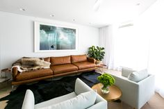 Leather Sectional Sofas for Modern Living Room Tan leather lights chairs very light gray large picture over sofa. The post Leather Sectional Sofas for Modern Living Room appeared first on Sofa ideas. House Design, Room Design, Tan Leather Sofas, Interior, Leather Lounge, Leather Sectional Sofas, Home Decor, Living Decor, Living Room Designs