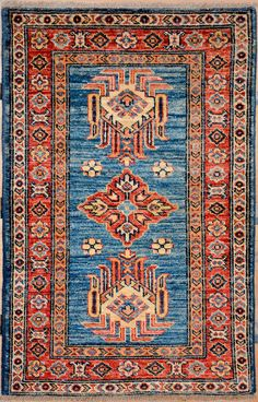 Hand Knotted Sky Blue Runner Super Kazak Wool Area Rug 2 9 X 8 3 By 1800getarug And Products