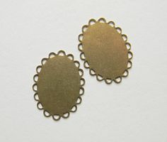 Brass Ox Setting Oval Flat Pad Filigree Lace by DecadentBrassGlass