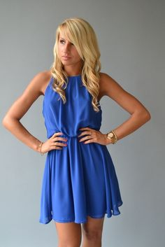 Electric Blue Dress $38 this would be rly good for graduation bc of our colors and it's RLY cute