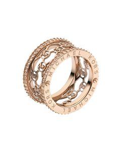 I love rose gold!  So glad it's making a comeback.     Michael Kors Monogram-Cutout Ring, Rose Golden.