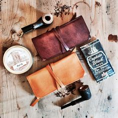 Leather Pipe Pouch -- 1-2 pipes - The Original Standard in Brown w/ Antique Brass hardware