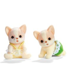 Chihuahua Dog Twins Set by Calico Critter  Open up a gateway to imagination and fantasy with these chihuahua twins, a delightfully detailed pair that encourages little ones' creativity and makes endless possibilities for fun.   Includes two figurines 1.5'' H PVC Recommended for ages 3 years and up