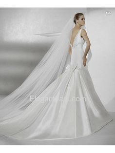 White Soft Netting Long Bridal Veil