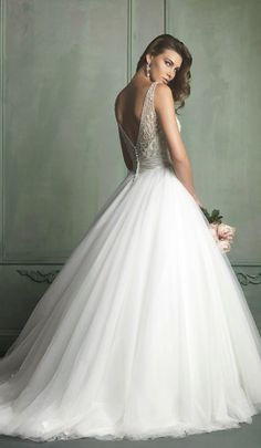 Beautiful full tulle skirt and deep v lace back