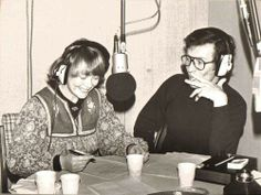 Daphne Neville making a radio recording in about 1978. Note the number of plastic coffee cups and the producer smoking in the studio.