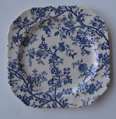 Blue Chintz Vines and Roses Flowers Square English Transferware Plate