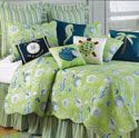 Green Shells Quilt Bedding by C & F