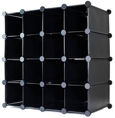 MULTI USE INTERLOCKING 16 PAIRS CUBE SHOE ORGANIZER RACK STORAGE DISPLAY STAND HOLDER - IDEAL FOR HAND BAGS, BOOKS OR ANY HOME ORGANISING - BLACK - [UK & IRELAND]