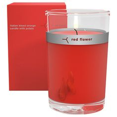 Red Flower, Italian Blood Orange Petal Topped Candle