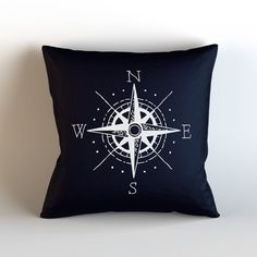 Nautical Compass / Decorative Throw Pillow with optional Insert /Home Decor/ Navy Blue White/ North East South West/ Nautical/ Blue White