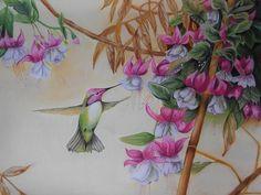Title  Bird And Flower   Artist  Mojgan Jafari   Medium  Painting - Pastel Pencil And Chalk Pastel On Paper