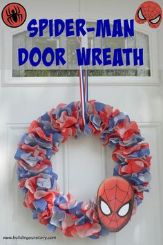 How to Make a Spider-Man Wreath, Spider-Man birthday party decorations, easy Spider-man party decorations, Spider-man door wreath, Spider-man birthday party