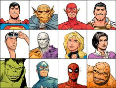 Marvel & DC Character Headshots by Doc Shaner - comicbooks Comic Book Guy, Comic Book Artists, Comic Artist, Comic Books Art, Superhero Characters, Marvel Characters, Marvel Dc, Marvel Comics, Comic Character