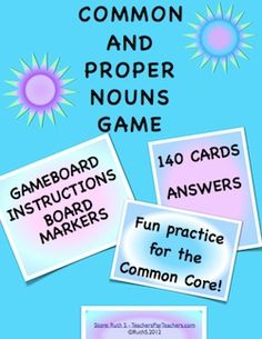 Common and Proper Nouns Game. 140 cards, game board, instructions and answers are provided. Noun Games, Common And Proper Nouns, English Language Arts, Word Work, Teaching English, Third Grade, Grammar, School Stuff, Classroom Ideas