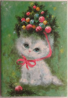 22 50s Sweet Kitten CAT Wearing Ornament HAT VTG Unused Christmas Card | eBay
