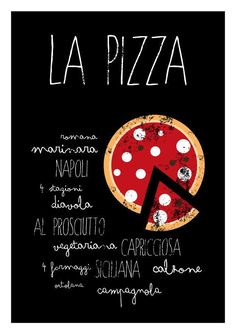 La Pizza Kitchen art print italian food poster by ShufflePrints Kitchen Prints, Kitchen Wall Art, Menu Design, Food Design, Pizza Kunst, Decoration Restaurant, Pizza Kitchen, Food Cartoon, Learning Italian