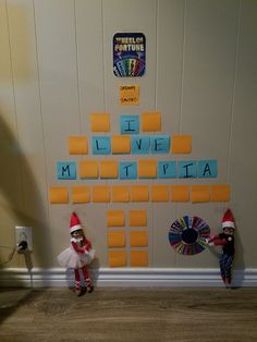 Elf on the Shelf.....playing Wheel of Fortune!
