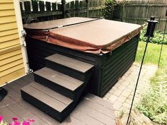How to Build Hot Tub Steps - A Step by Step Guide - some lovely, sturdy hot tub steps. A great DIY project and a great way to customize your hot tub area.