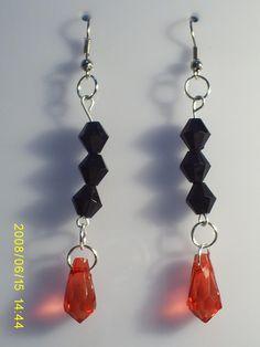 aretes #3286  valor $3000 Drop Earrings, Red, Black, Jewelry, Fashion, Stud Earrings, Accessories, Moda, Jewlery
