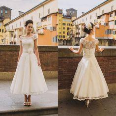 2016 A-Line Spitze Kurz Hochzeitskleid Abendkleid Ball kleid Brautkleider M097
