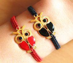 This listing is for 2 bracelets, Couples Bracelets Set, Night Owl Bracelets,Braid Bracelets, Anniversary Gift, Personalized Birthday Gift,