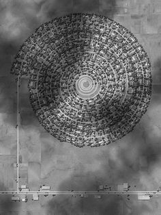 Drawing by Ross Racine. Aerial views of suburbs as land art. Plans Architecture, Futuristic Architecture, Landscape Architecture, Architecture Diagrams, Architecture Portfolio, Interior Architecture, City Ville, Landscape Prints, Landscape Artwork