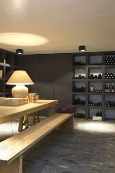 Potential multi purpose cabinetry in wine cellar/media room Cellar Design, Cocinas Kitchen, Wine Display, Simple Interior, Wine Cabinets, Wine Storage, Interior Architecture, Interior Decorating, Sweet Home
