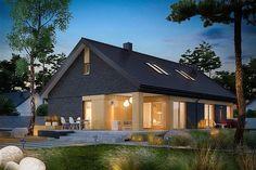 EX 11 (wersja C) soft - projekt domu - Archipelag Contemporary House Plans, Modern House Plans, House Construction Plan, Modern Bungalow House, Country Kitchen Designs, Modern Farmhouse, My House, House Design, House Styles