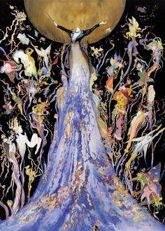Concert by Yoshitaka Amano, Japan Shizuoka, Yoshitaka Amano, Drawn Art, Final Fantasy Art, You Draw, Japanese Artists, Artist Art, Les Oeuvres, Art Inspo