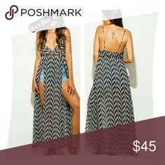 "*SALE* Chevron Abstract Print Boho Cover-up/ Maxi LAST 3 / Printed chiffon V-neck beach cover-up/Maxi sundress. Features a low v-neck & spaghetti straps with high double front slits. Pair with shorts or wear over top of bathing suit. Unlined, sheer, relaxed fit. 100% Polyester. Made in the USA.  Model is 5'9, chest 34B, waist 25.5"", hips 36"" - wearing a small Wenjie Dresses"